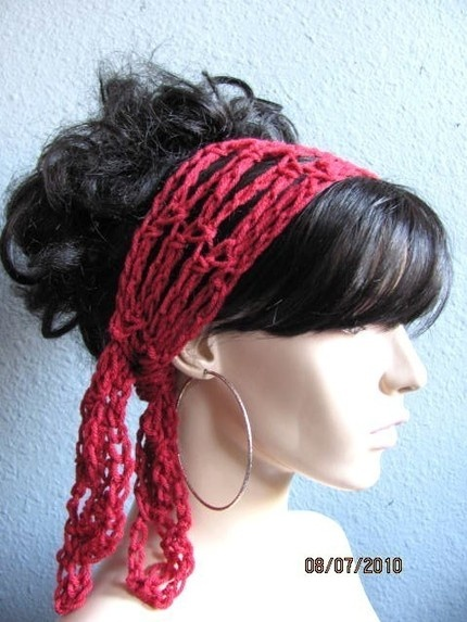Crochet Gypsy Style Hair Band Pattern : Autumn Red Hand Crochet Gypsy Style Hair Band and Scarf
