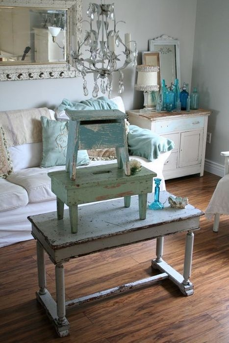 Shabby Chic Living Room In Blue White Shabby Chic Home Decor Pi