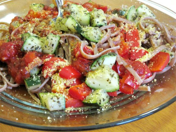 "Julienned Zucchini ""Spaghetti"" With Quick Sausage, Tomato, And Basi..."