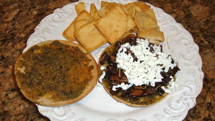 Balsamic-rosemary mushroom and goat cheese sandwich