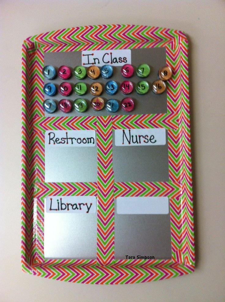 Number magnets to keep track of kids you allow to leave the room. Use a cookie sheet with glass stones glued to scrapbook paper and a magnet. then trim in fun duct tape!