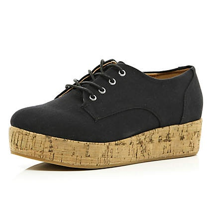 Black lace up cork flatform shoes - flatforms / creepers - shoes
