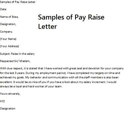 Request Raise Letter – Pay Raise Letter Template
