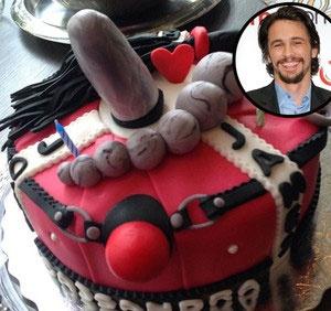 James Franco recibió un pastel en forma de pene James Franco