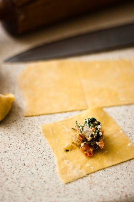 Spinach, Feta & Red Pepper Tortellini / Two spoons