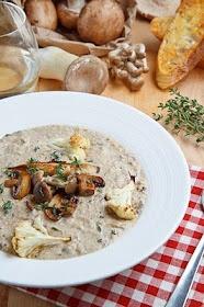 Mushroom and roasted cauliflower soup