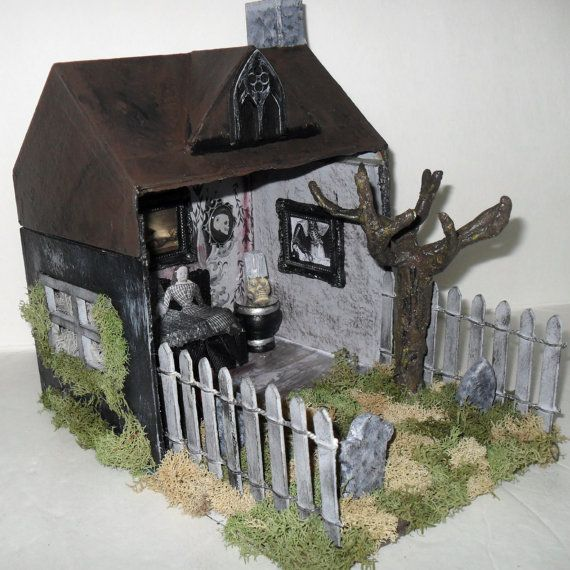 Haunted House Diorama Gothic Art Ghost by NacreousAlchemy, $50.00: pinterest.com/pin/399201954443920375