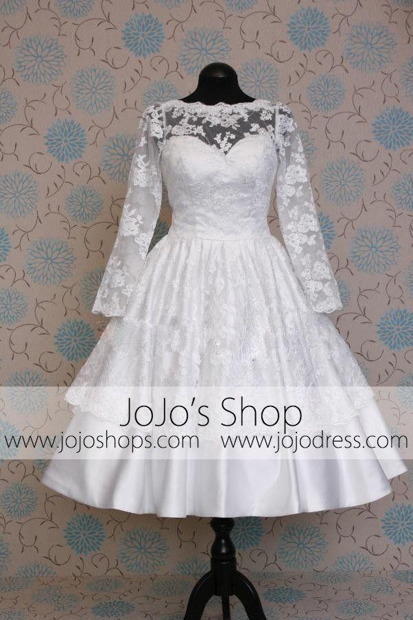 Retro 50s short tea length long sleeves keyhole lace for Long sleeve tea length wedding dresses