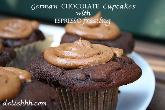 German Chocolate Cupcakes with Espresso Frosting | Recipe