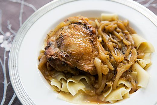 Chicken thighs with onions, browned in butter and braised in dark beer ...