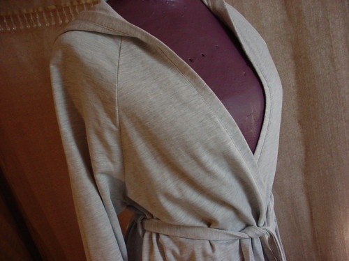 hooded short robe, comfortable cotton knit ~
