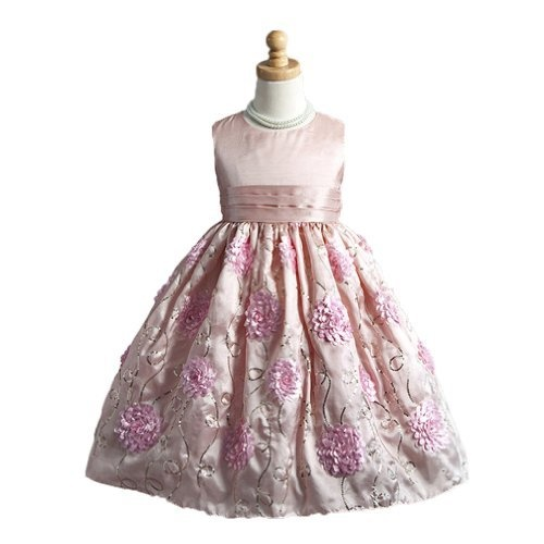 Classy 916 beautiful sleeveless holiday flower girl dress pink 4t