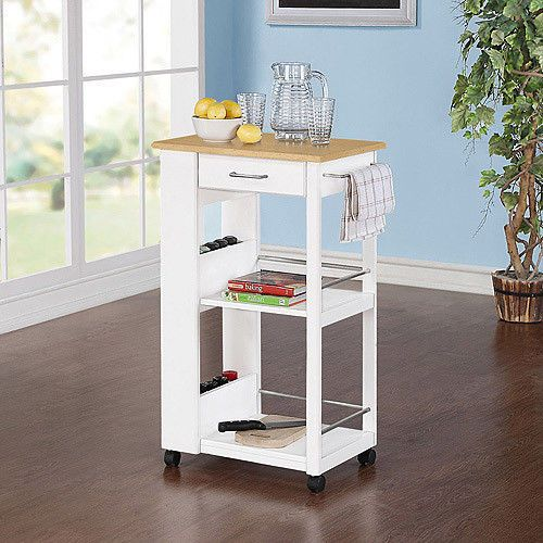 Small Kitchen Rolling Cart Island Storage Butcher Block Open Drawer F