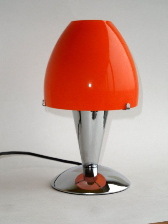 Modern chrome amp orange glass lamp bedside or table on etsy 100 54