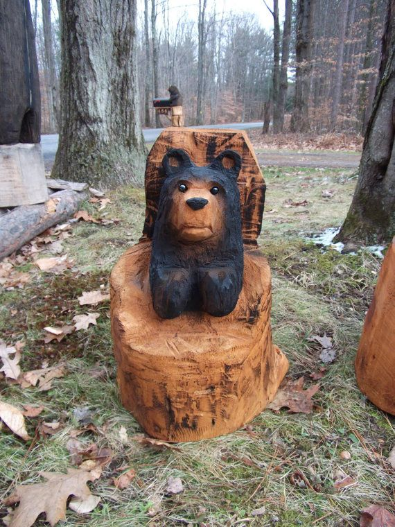 Chainsaw carved black stump bear