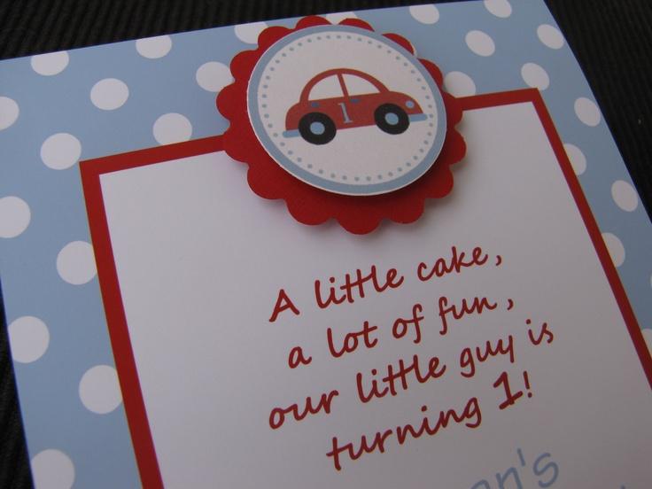 Car Theme Birthday/Baby Shower Invitations