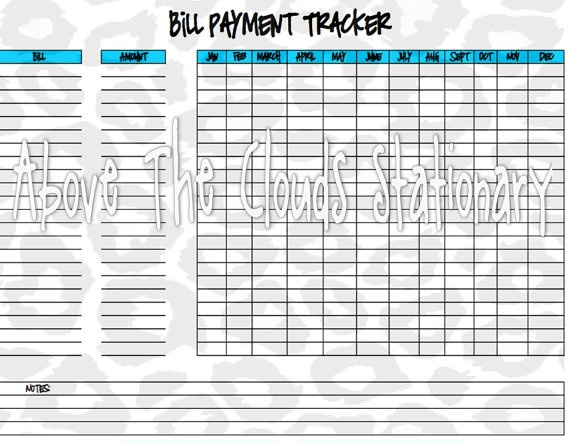 Bill Payment Tracker Printable Teal & Leopard by ATCstationary, $1.50 ...