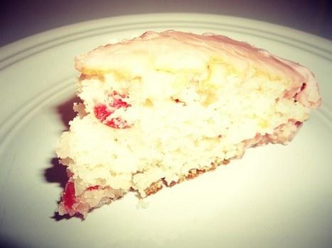 Cherry glazed coconut cake