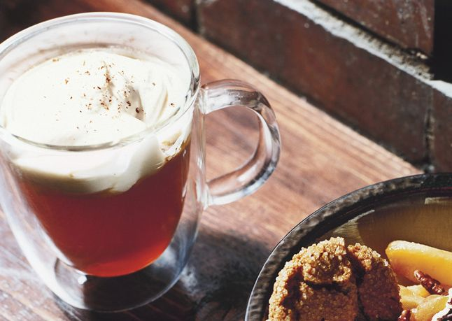 Spiced Apple Cider with Rum Whipped Cream