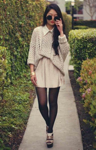 Knitted oversized sweater with pleated velvet skirt