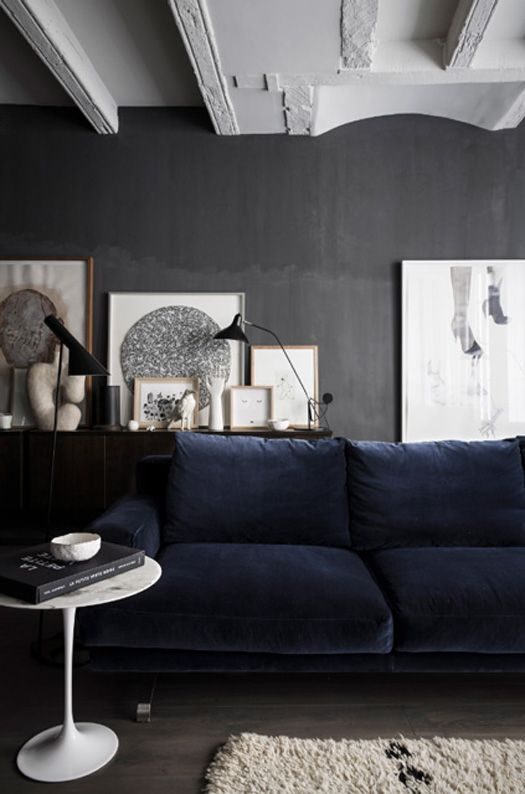 blue velvet couch, scandinavian interior design via  http://www.scandinavianlovesong.com/