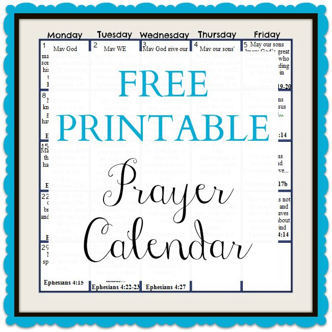 This blog has FREE printable prayer calendars for each month to pray ...