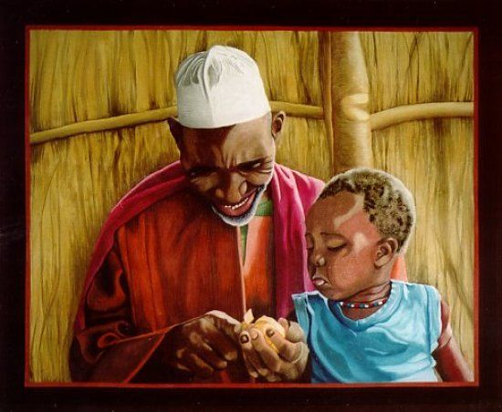 Hollis Chatelain - Textile Artist, figurative art textiles, http://www.hollisart.com, African grandfather and child