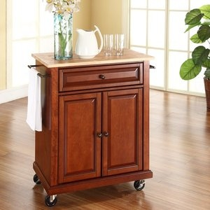 Crosley natural wood top portable kitchen cart island in classic