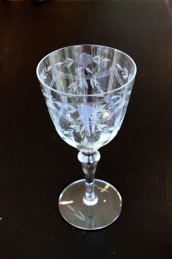 pair of etched fine crystal fluted wine glasses by umbrellafant