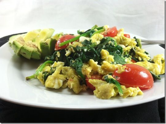 scrambled eggs with spinach | Breakfast/Brunch | Pinterest