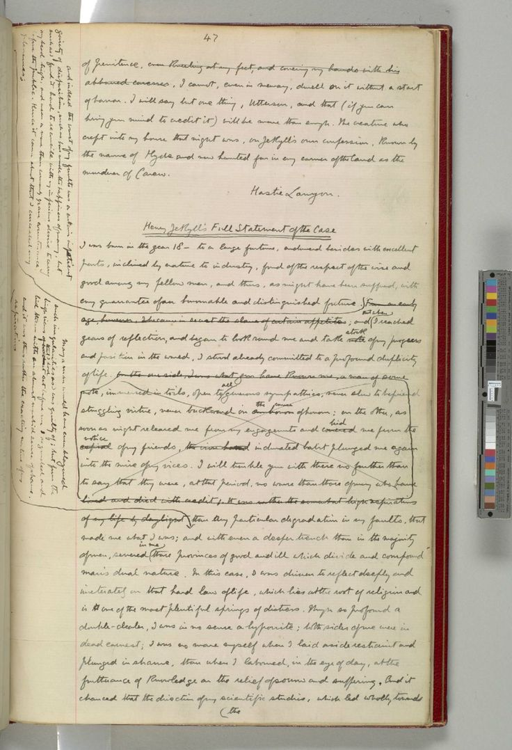 A Manuscript Page From Robert Louis Stevenson's Strange Case Of Dr. Jekyll And Mr. Hyde. (Via The British Library on Twitter)