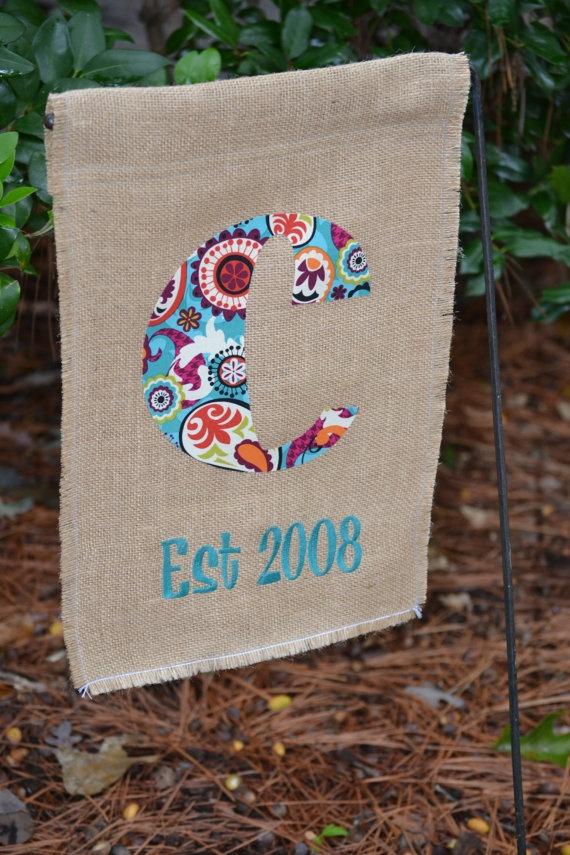 monogram garden flag