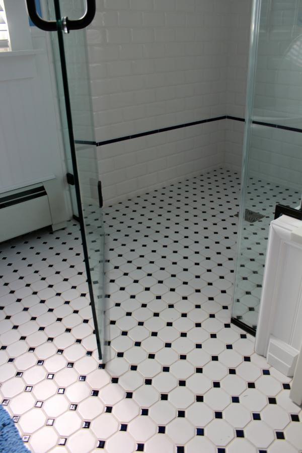 handicap accessible shower floor very retro but no glass doors