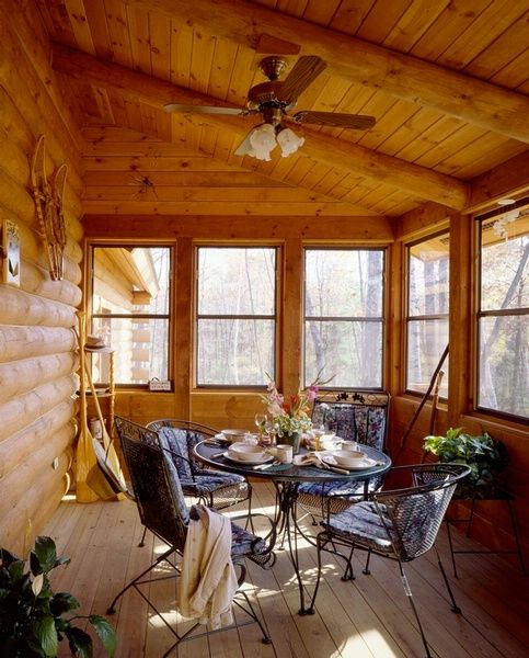 Enclosed porch log home pinterest for Log cabin sunrooms