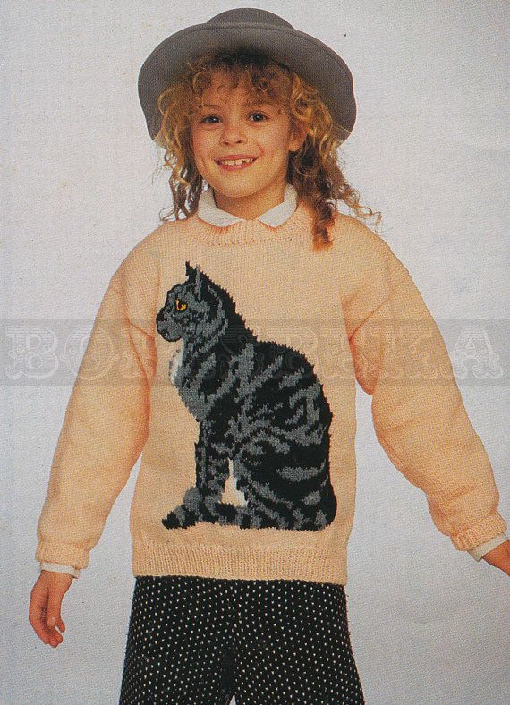 Cat Jumper Knitting Pattern : vintage Adult & Childs CAT jumper knitting pattern (90s) (PDF)