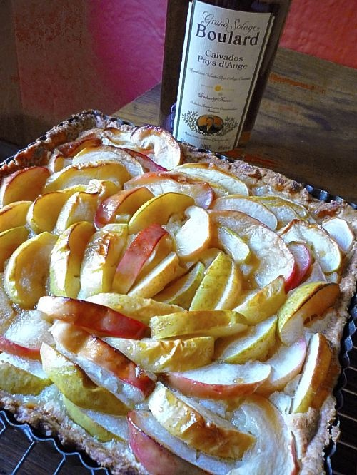 Heirloom Apple Tart with Almond Filling and Calvados Cream