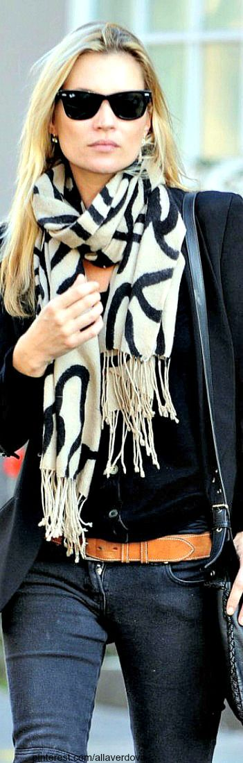 coat jeans with scarf and handbag