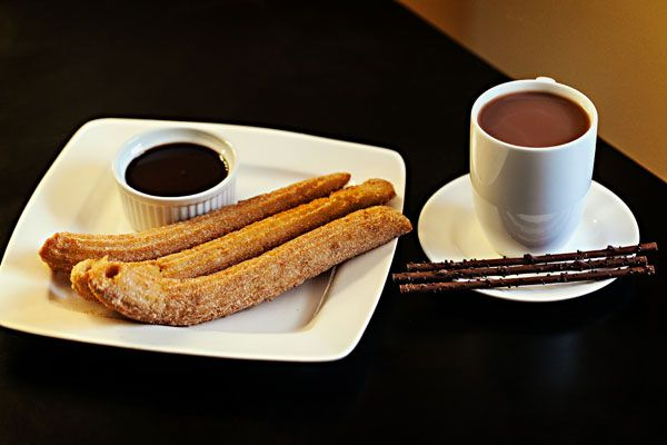 Churros and chocolate paired with spiced hot chocolate