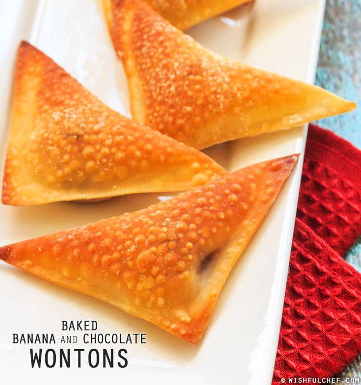 Baked Banana and Chocolate Wontons // wishfulchef.com #ValentinesDay # ...