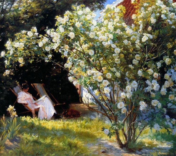 Peder Severin Krøyer (Danish painter) 1851 - 1909  Roses, or The Artists Wife in the Garden at Skagen, 1893  oil on canvas  Skagens Museum, Denmark