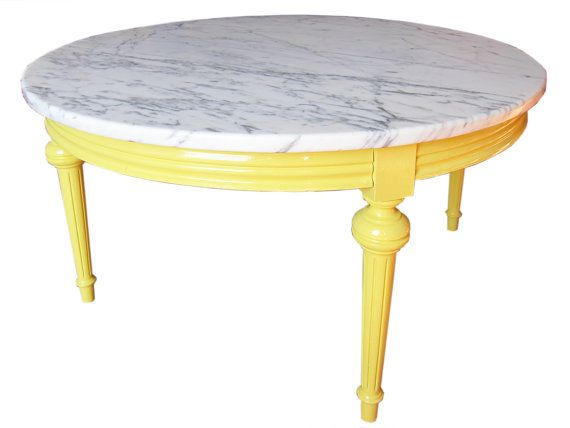 Fully Restored Marble Coffee Table Yellow Painted Marble Round Table