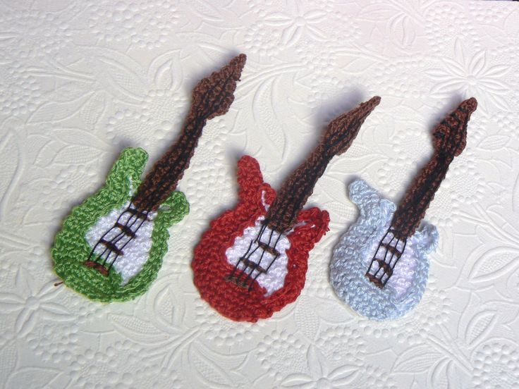 Amigurumi Hat Crochet Patterns : Guitar Crochet Appliques Set of 3 by funkyfreshfabric on ...