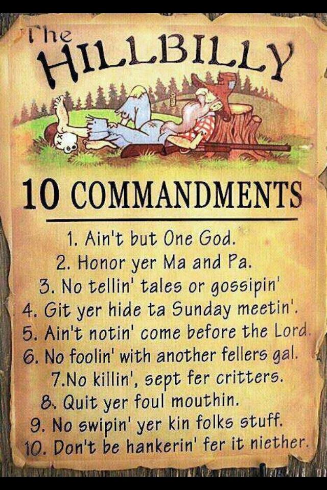 Hillbilly Ten Commandments | bible crafts | Pinterest