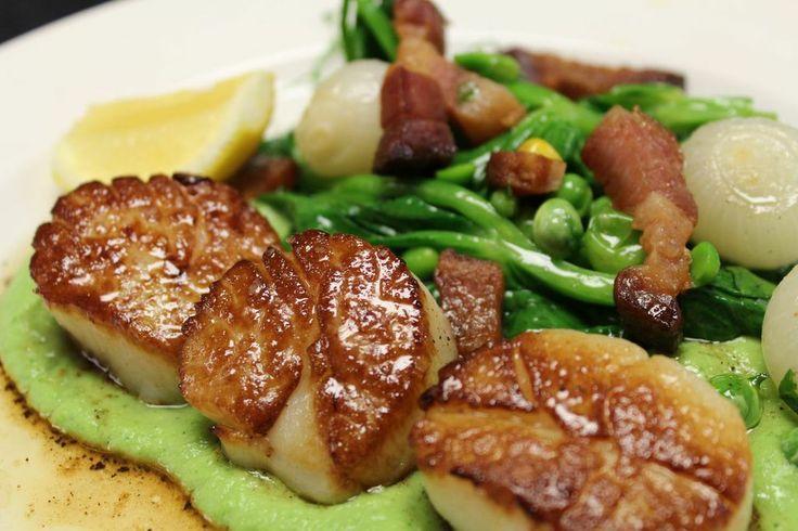 ... pea puree, sautéed pea shoots, apple wood smoked bacon | AZuL Summer