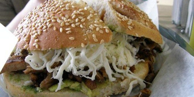 in the cemita sandwich. The creation is made with avocado, chile ...