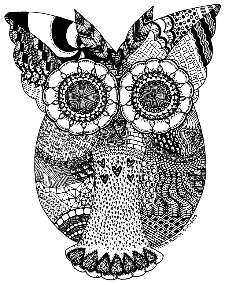 zentangle owl coloring pages - photo#1