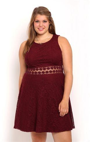 Deb Shops Plus Size Lace Skater Dress with Illusion Crochet Waist