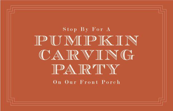 pumpkin carving party.