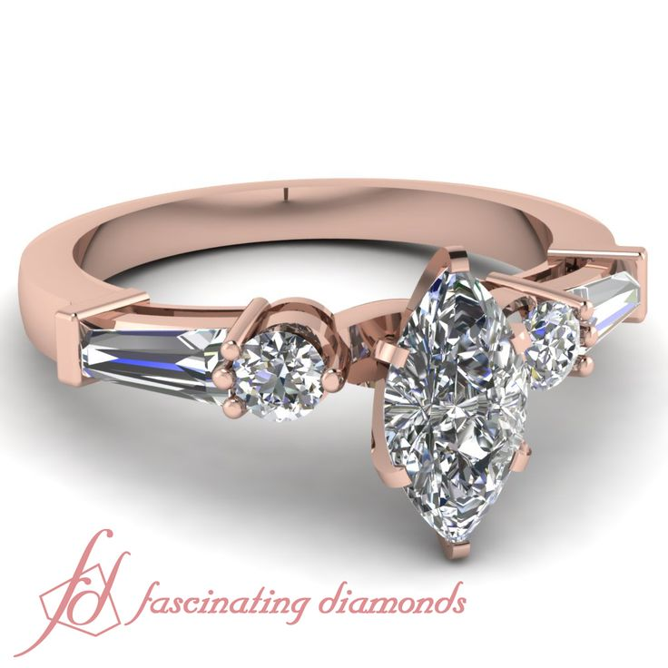 Rose Gold Engagement Rings Rose Gold Engagement Rings Marquise Baguette