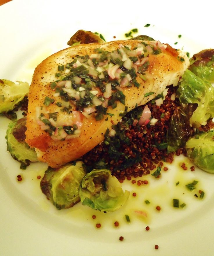 Pan-Roasted Halibut With Caper Vinaigrette Recipe — Dishmaps